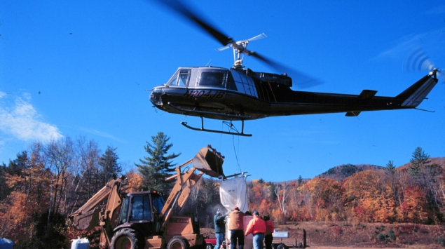 In 1999, pelletized calcium (powdered wollastonite with a lignin sulfonate binder) was applied to watershed 1 of Hubbard Brook LTER using helicopters in order to evaluate the role of calcium supply in regulating the structure and function of base-poor forest and aquatic ecosystems. HBR LTER.