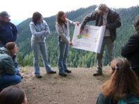 Description: Andrews scientist Fred Swanson explains the Blue River Management Plan to a tour group.