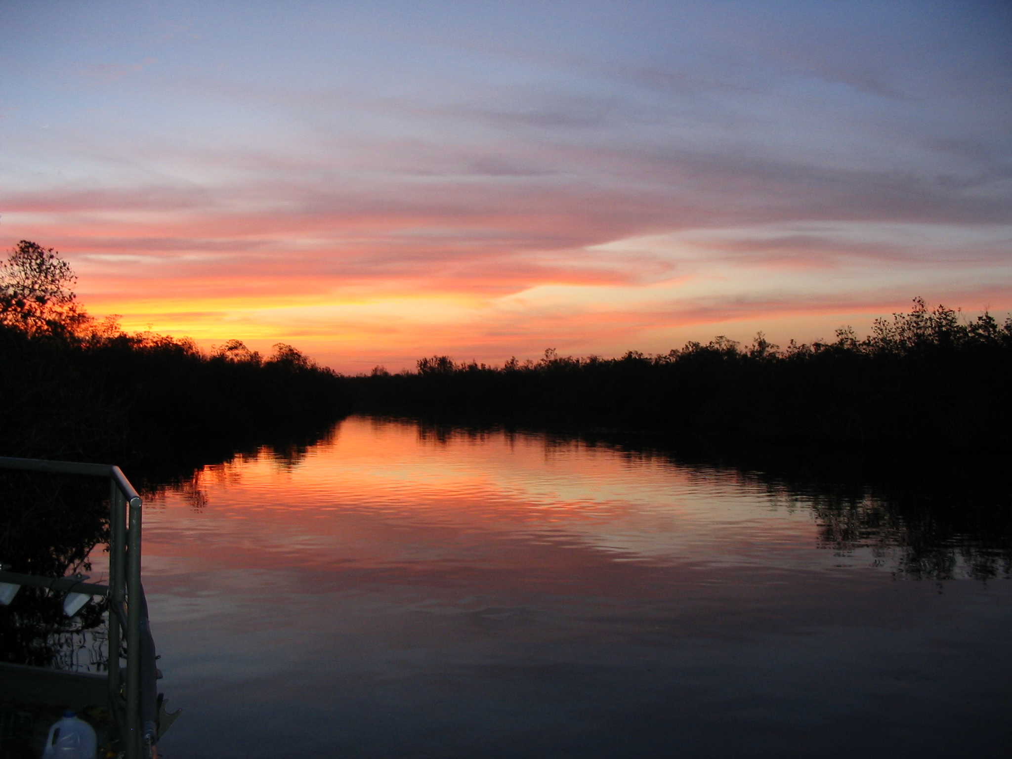 A sunset over the water in the Everglades