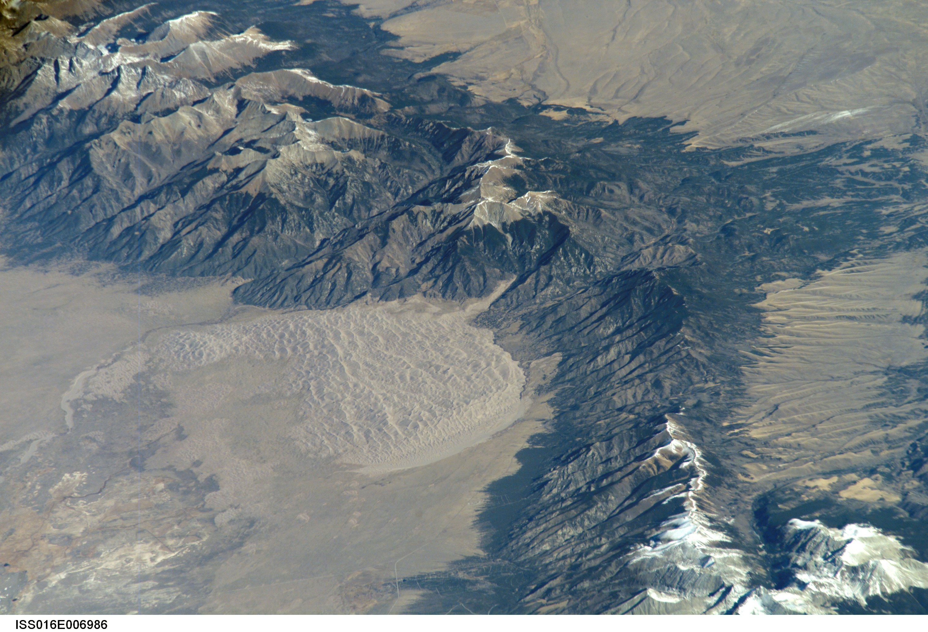 mountain range with ancient lakebed