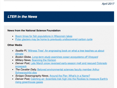 image of LTER Science Update newsletter