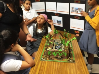 Middle school students gathered around a science project