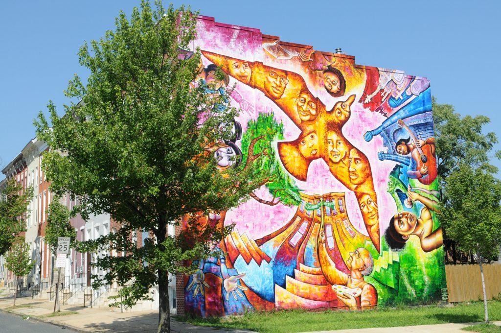 bright urban mural