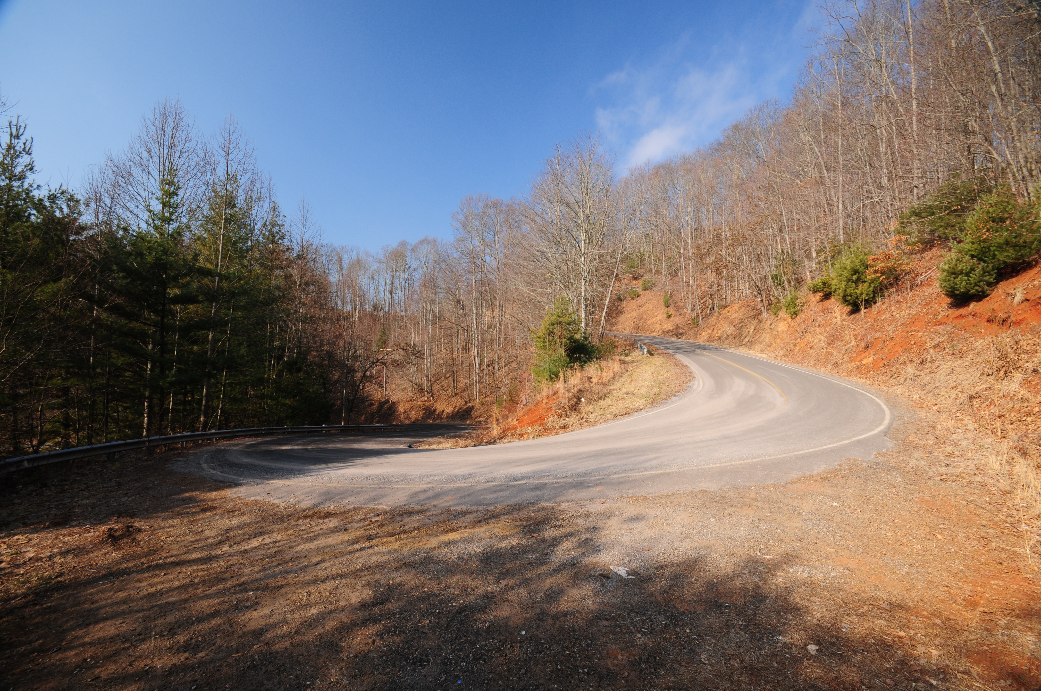 A hairpin turn on a mountainside road