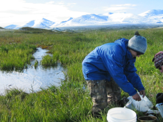 collecting water streamside in hat, gloves, parka