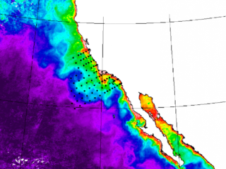 map of coastal California ocean, with red and green nearshore, shading to blue and purple offshore