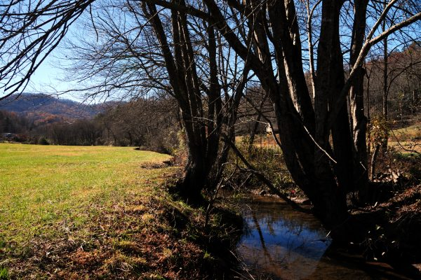 a small stream runs adjacent to open fields in the Appalachian foothills