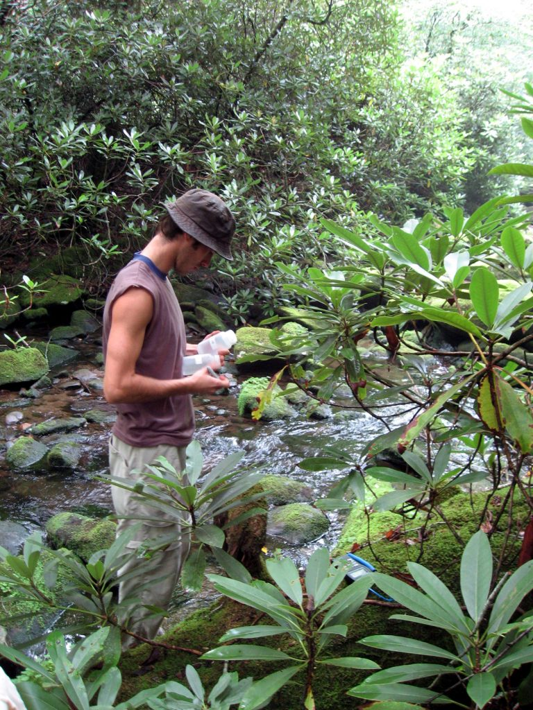 A CWT researcher wades in a stream to take water samples