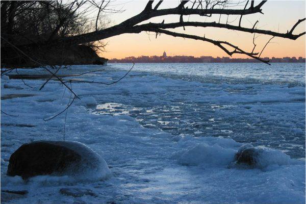 Ice along lakeshore