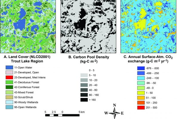 three maps with land cover, carbon pool density, and CO2 exchange