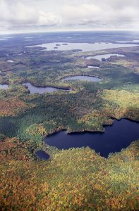 aerial view of lakes and changing fall foliage