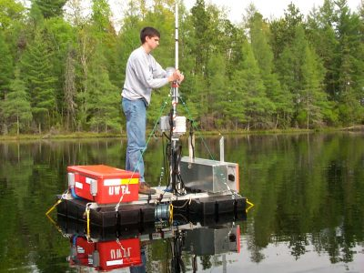 sampling from float in the middle of a calm lake