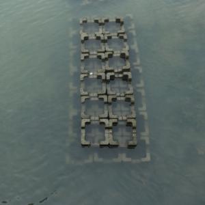 cement blocks in seawater