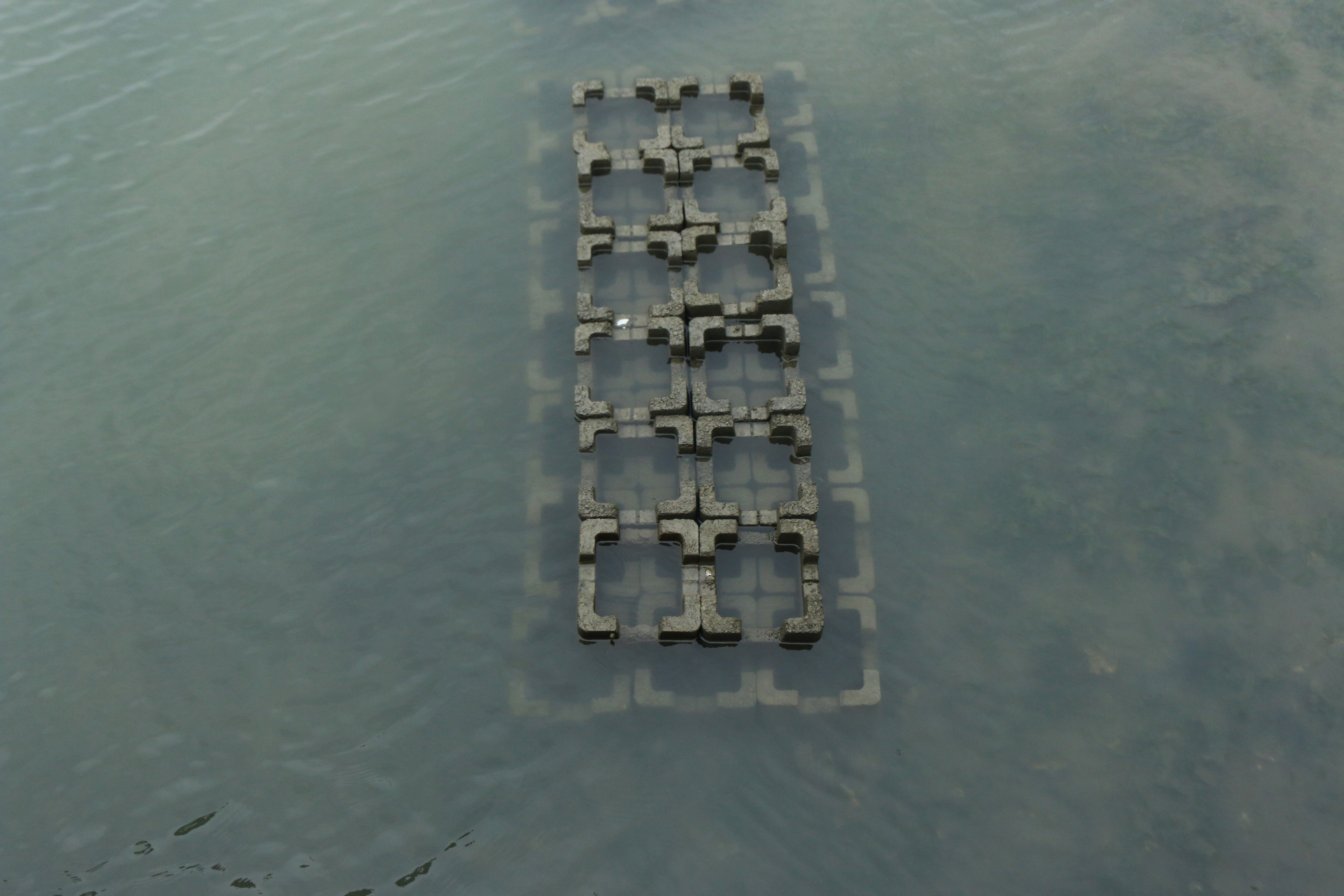 cement blocks in seawater