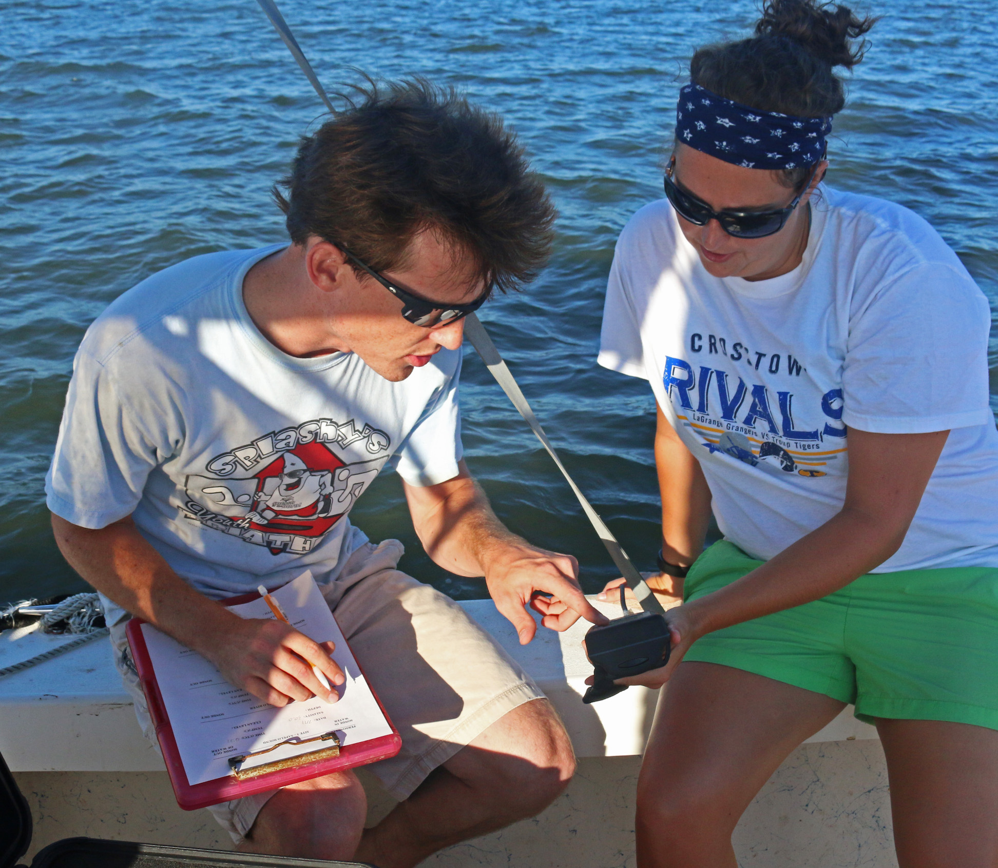 Research Technician Tim Montgomery records water quality data with a teacher during the GCE schoolyard summer workshop.
