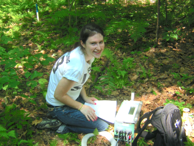 Fiona Jevin in the field at Harvard Forest in 2010.