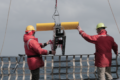 Paul St. Onge and Seth Danielson deploy the Acrobat off the back deck of Sikuliaq.