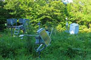 A forest weather station collects data used in Waterviz.