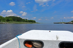 View from a VCR LTER research boat cruising along estuaries where seagrass restoration projects are underway.