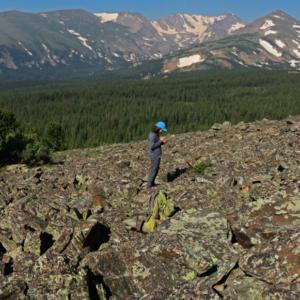 Ashley Whipple studies pika in the Colorado mountains.