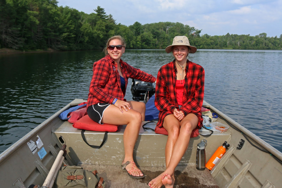 They matched by accident! Two interns in plaid heading to the transect.