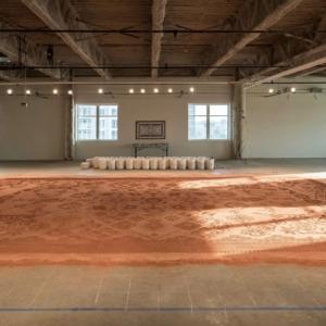 Rena Detrixhe working on her indoor installation, 2017