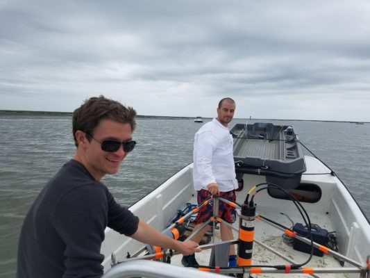 Ecologist Martin Volaric and composer/programmer Eli Stine (left) recording oyster reefs. Photo: Cora Ann Johnston
