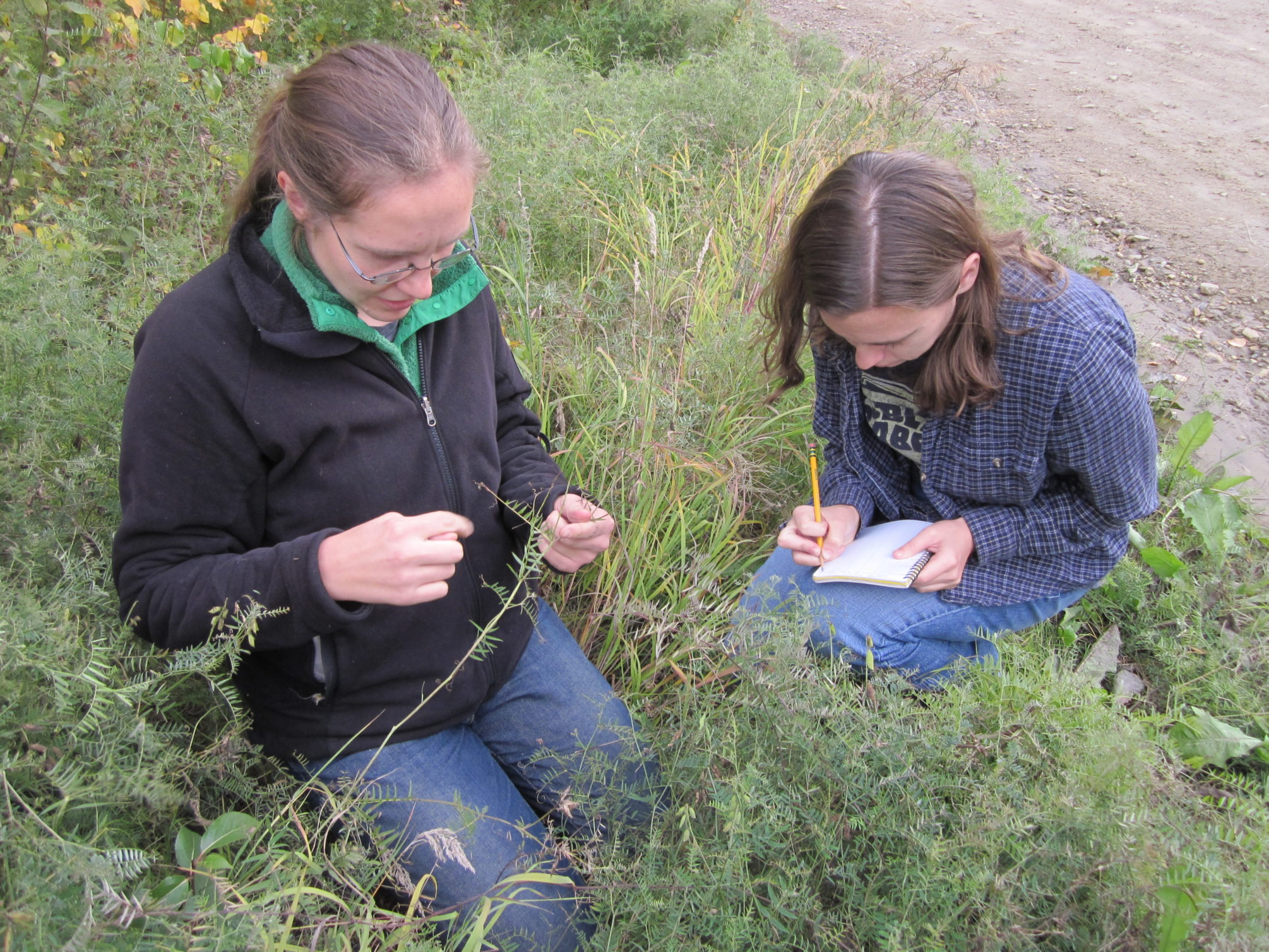 Dr. Katie Spellman with tech Patricia Hurtt collecting data at a disturbed site.