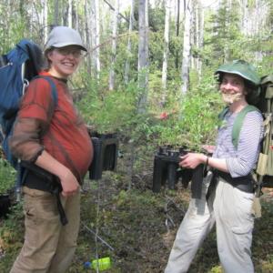 Dr. Christa Mulder and Dr. Katie Spellman removing non-native Melilotus albus plants.