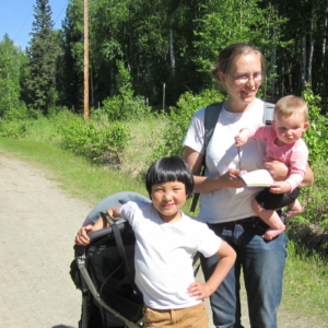 A family expedition. Dr. Katie Spellman, her daughter Izzy, and Dr. Christa Mulder's son, Euan, during one of their weekly monitoring outings.