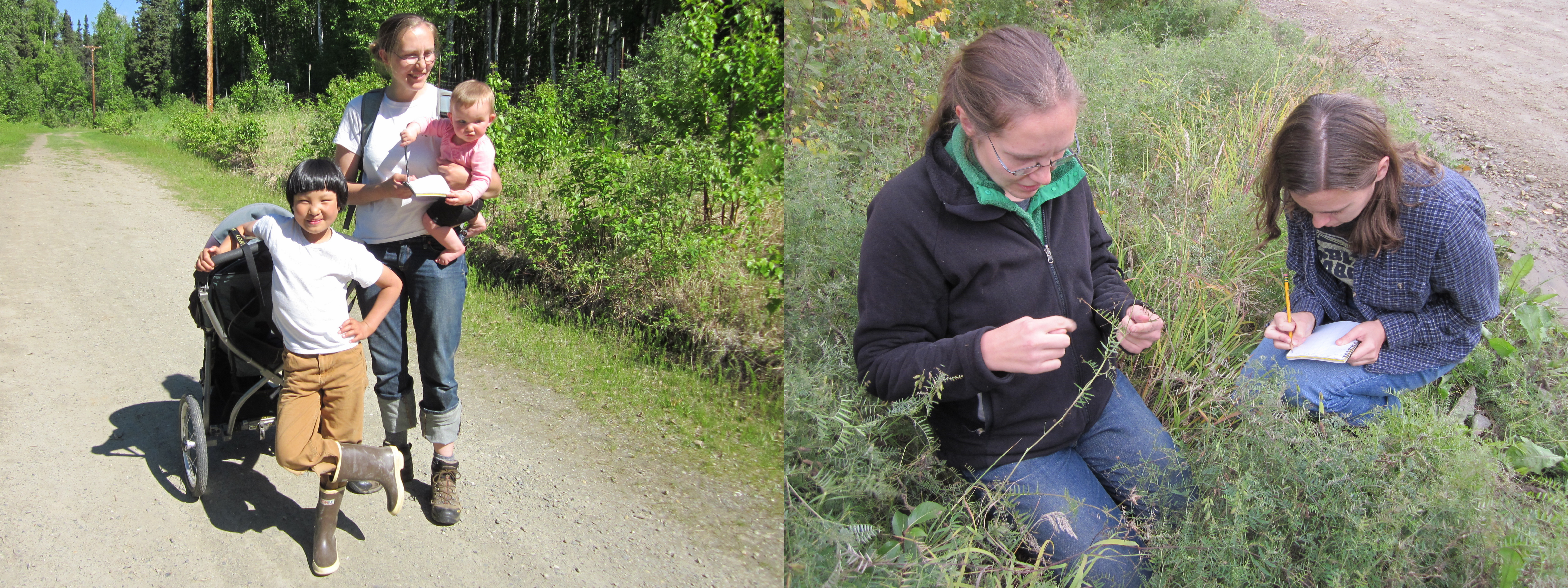 Left: A family expedition; Dr. Katie Spellman, her daughter Izzy, and Dr. Christa Mulder's son, Euan, during one of their weekly monitoring outings. Right: Dr. Katie Spellman with technician Patricia Hurtt collecting data at a disturbed site.
