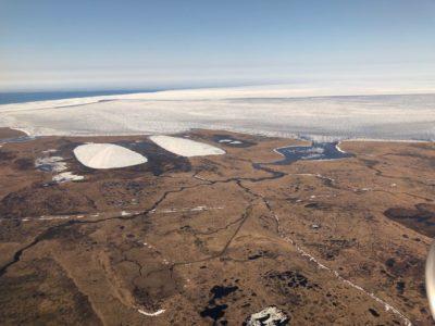 water-pocked landscape of coastal tundra