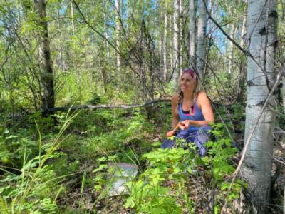 Xanthe Walker organizes tree cores while sampling in the 1987 burn near Delta Junction, Alaska.