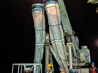 Plankton tows being pulled onboard