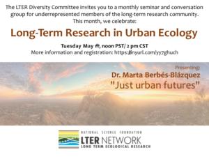 "May 11, 2021, Noon PT / 2 pm CT. Dr. Marta Berbés-Blázquez speaks on ""Just Urban Futures"""