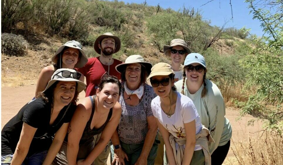 Marina with supervisor Dr. Nancy Grimm and lab mates at one of their field sites.