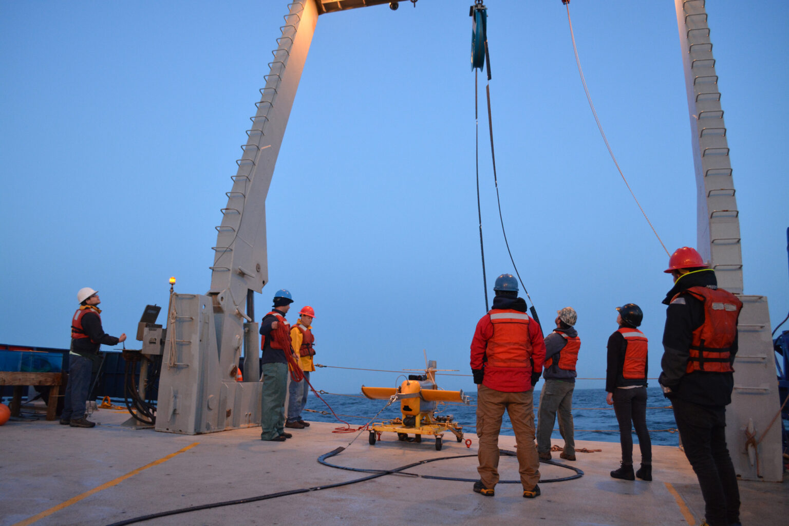 Deploying SeaSoar instrument on deck