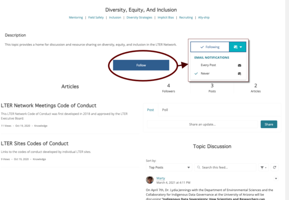 image of topic page with the Follow button highlighted