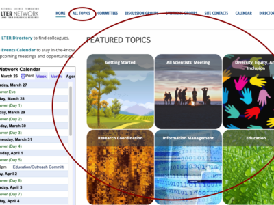 Image of the LTERHub homepage with topics highlighted