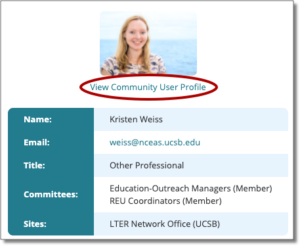 image of LTERHub user profile