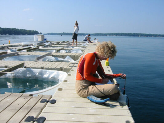 floating docks with ~2 meter radius water enclosures and researchers