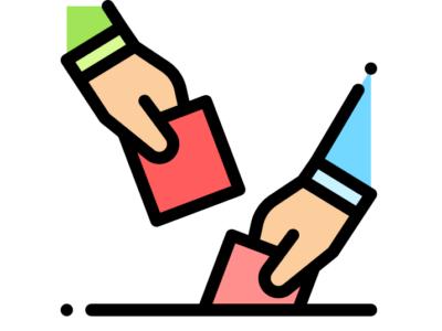 two hands depositing ballots